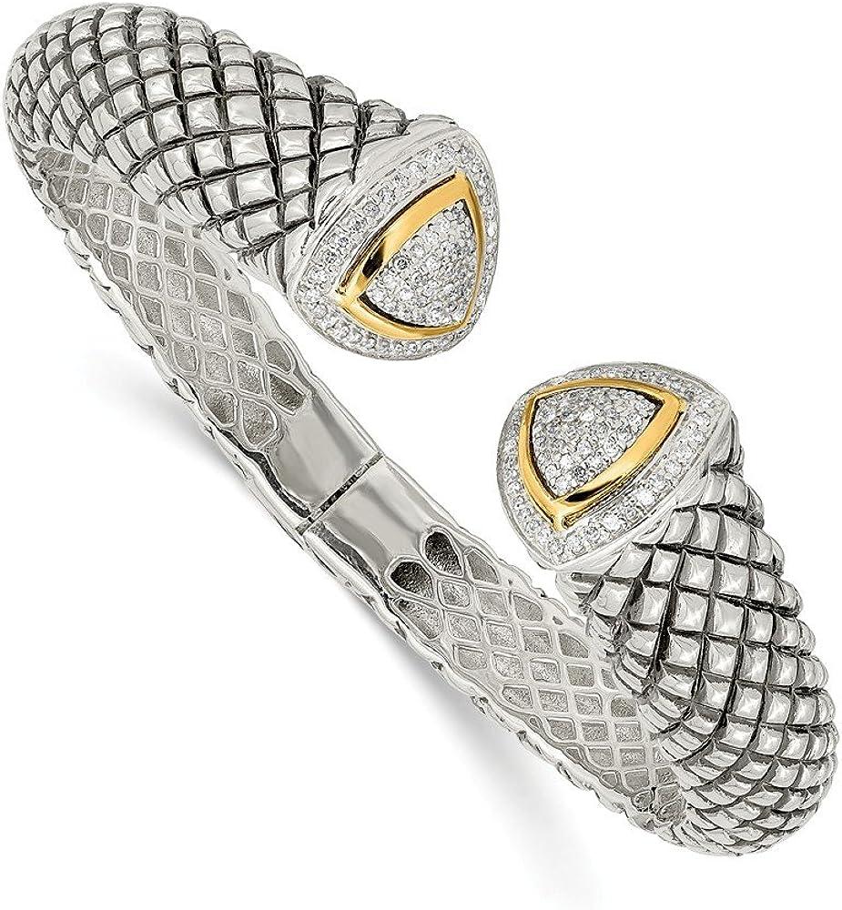 925 Sterling Silver 14k Columbus Mall Yellow Gold Cuff B 1 Diamond 2ct. Hinged Over item handling