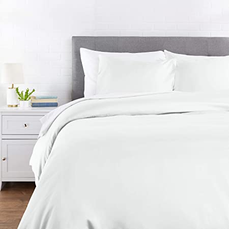 Amazon Basics Cotton and Rayon Derived from Bamboo Duvet Cover Set - Full/Queen, Light Turquoise