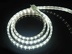 CBConcept UL Listed, 100 Feet, 10100 Lumen, 6000K Pure White, Dimmable, 120V AC Flexible Flat LED Strip Rope Light, 1830 Units 3528 SMD LEDs, Indoor Outdoor Use, Accessories Included, Ready to use