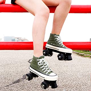 Canvas Roller Skates Girls Unisex Quad Roller Skates with High Top Shoe Style for Indoor/Outdoor Adult Men And Women,40