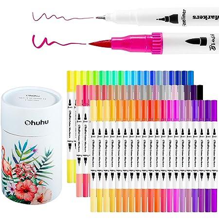 Ohuhu Filzstifte, 60 Farben Pinselstifte Set, Bullet Journal Stifte Brush Pen Set, Wasserbasis Marker Textmarker Stifte für Kalligraphie Zeichnung Skizzieren Malbuch Stifte Art Projekte