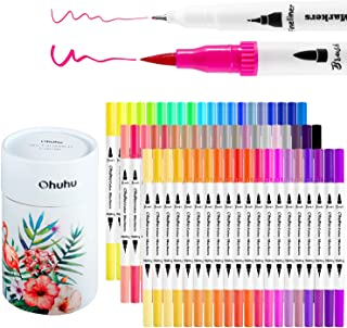 Ohuhu Art Markers Dual Tips Coloring Brush Fineliner Color Pens, 60 Colors of Water Based Marker for Calligraphy Drawing S...
