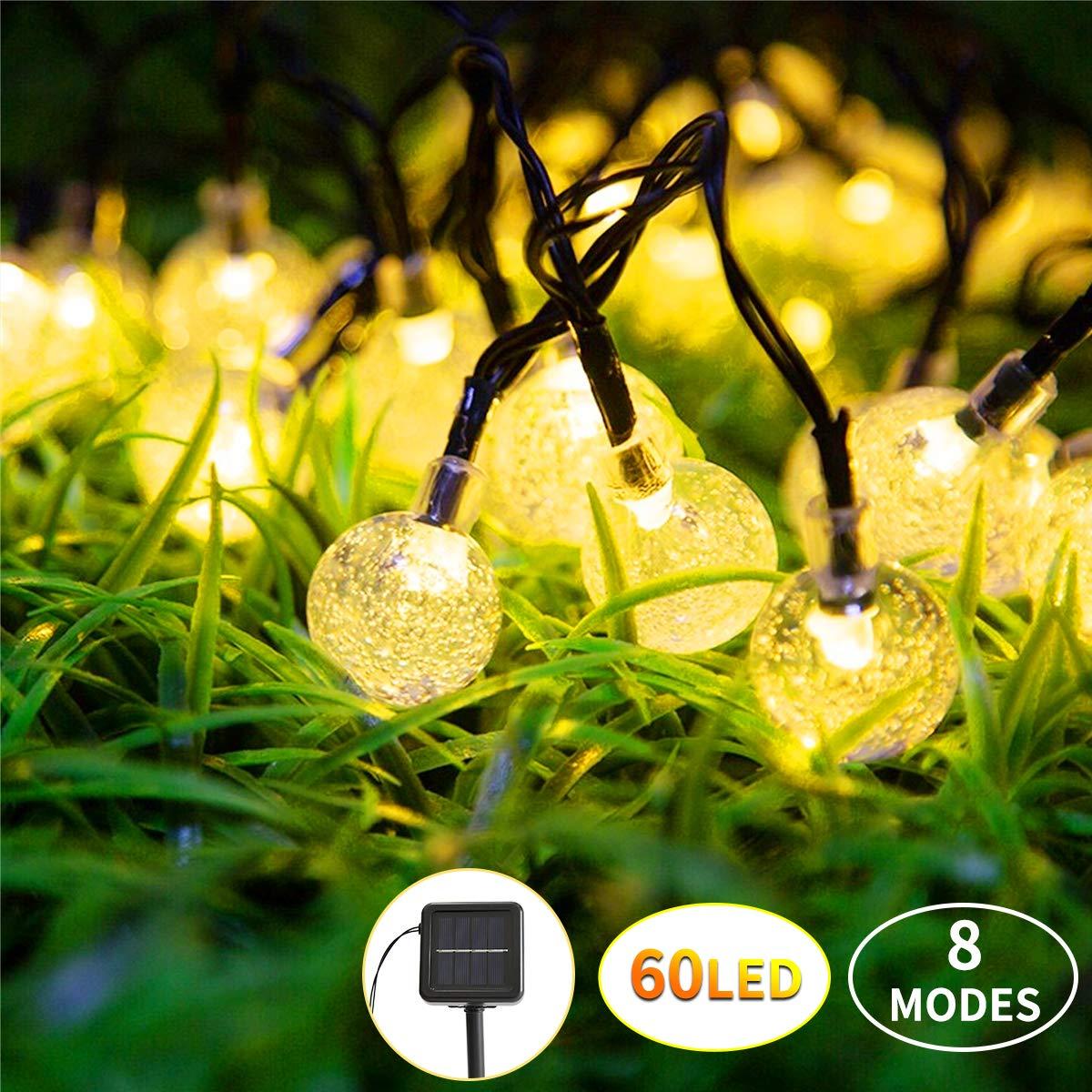 Vindany Guirnaldas Luces Exterior Solar - Guirnalda Luminosa 60 LED Cadena de Bola Cristal Luz Impermeable 8 Modos Interior y Exterior Cadena de Luces Solar para Jardín Casa Patio Jardine (60LED): Amazon.es: Iluminación