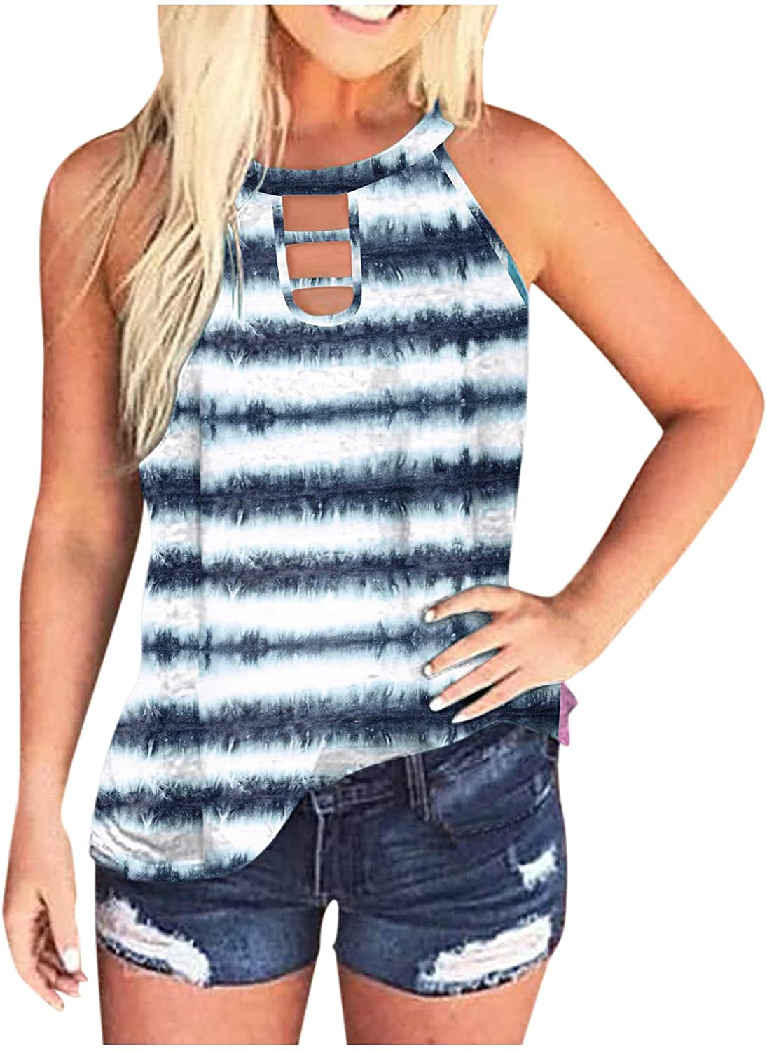 AODONG Womens Tank Tops,Womens Summer Casual Loose Fit Sleeveless Workout Blouses Tops Tank Shirts Tunics Vest
