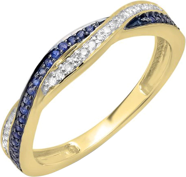 Dazzlingrock Collection Round White Diamond & Blue Sapphire Ladies Stackable Swirl Anniversary Wedding Band Ring, 10K Gold