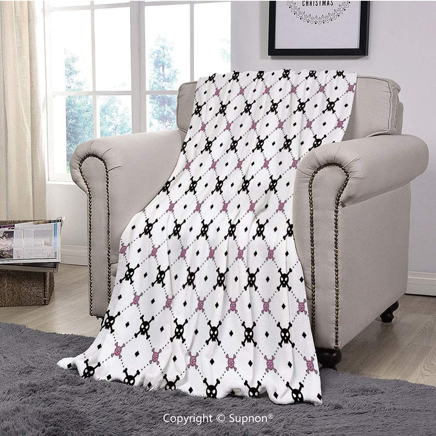 BeeMeng Printing Blanket Coral Plush Super Soft Decorative Throw Blanket,Skulls Decorations,Girly Skull and Crossbones Pattern in Simple Artistic Design Decorative(59  x 59 )