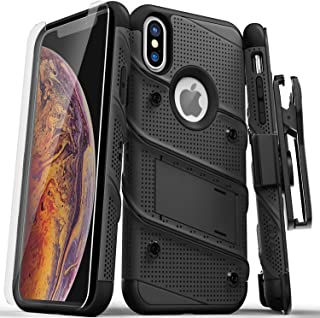 ZIZO Bolt Series iPhone X Case Military Grade Drop Tested with Screen Protector, Kickstand and Holster iPhone Xs Black