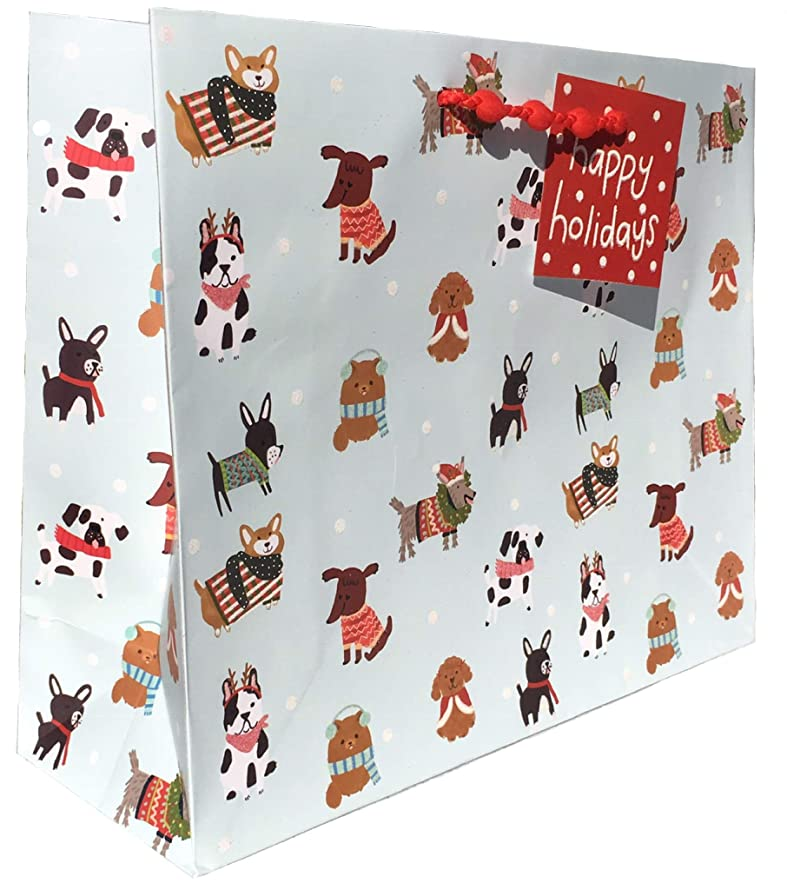 Molly & Rex Holiday Dogs Glitter Embellished Horizontal Gift Bag, Large 15383