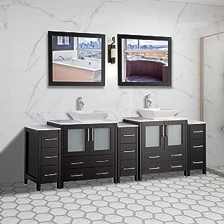 Vanity Art 96 inch Double Sink Bathroom Vanity Combo Set 13-Drawers, 2-Shelves, 5 Cabinet Quartz Top and Ceramic Sink Bathroom Cabinet with Mirror - VA3130-96-E