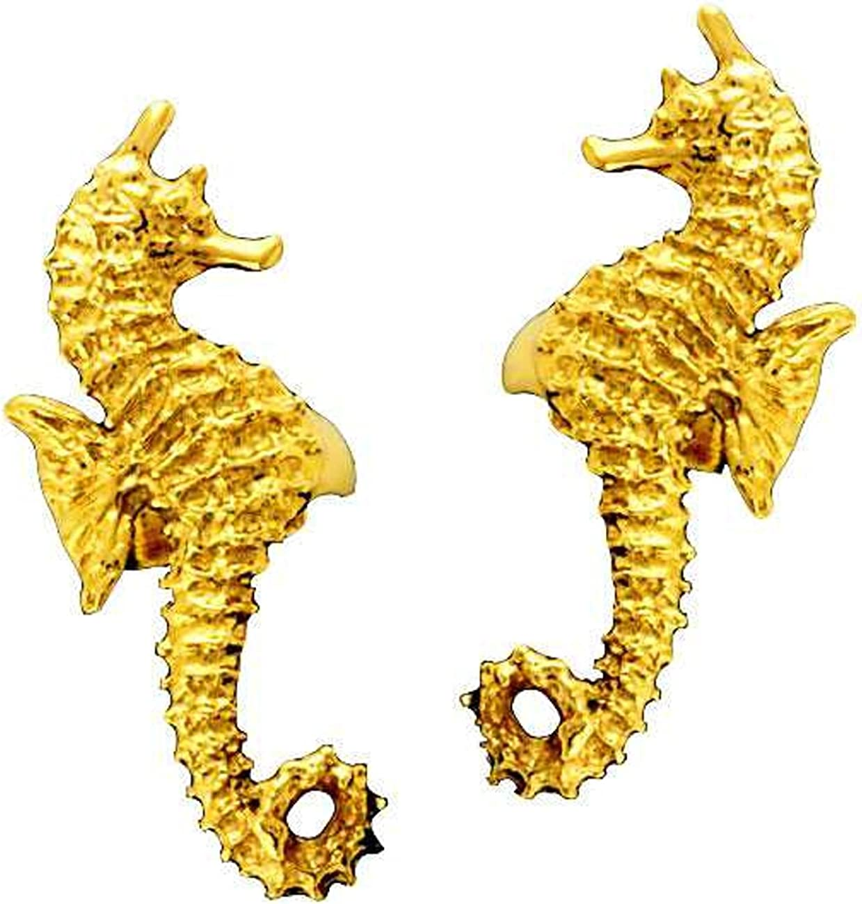 Gold Weekly update Vermeil Left And Right Sea Mail order cheap Set Cuff Ear Wrap Horse