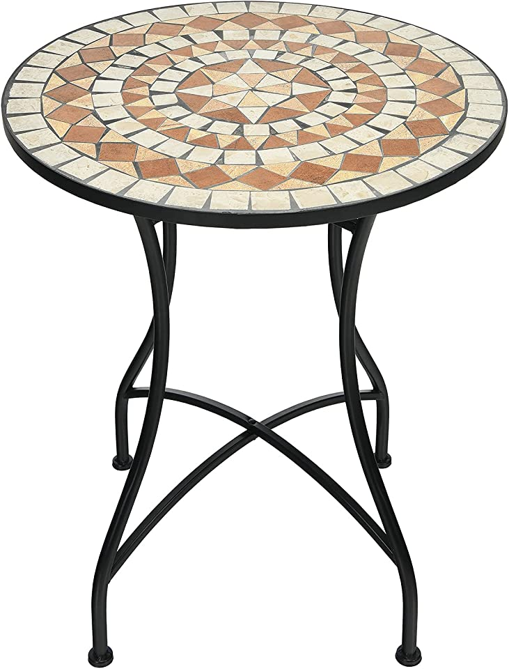 GIANTEX Mosaiktisch rund Kaffeetisch Mosaik Beistelltisch Balkontisch Gartentisch Eisengestell Kaffeetisch Metalltisch Teetisch Vintage für Wohnzimmer Garten Terrasse