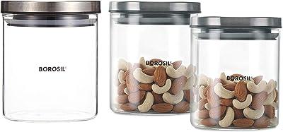 Borosil Classic Glass Jar For Kitchen Storage, Set of 2, (600ml + 600ml) & Classic Glass Jar for Kitchen Storage, 600 ml Combo