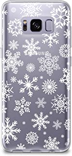 CasesByLorraine Samsung S8 Case, [Full Coverage Screen Protector Included-NOT Glass] Christmas Snowflakes Clear Transparent Case Xmas Holiday TPU Soft Gel Protective Cover for Samsung Galaxy S8 (P65)