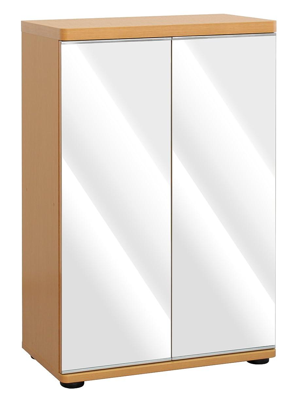 協力的名誉ある姓シューズボックス ミラー扉付き くつ箱 可動棚 幅59.5×奥行34×高さ92cm ナチュラル TKM-7778NA