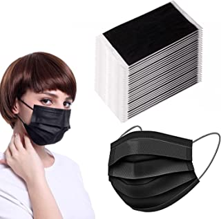 50PCS Disposable Face Safety Mask-Individually Packaged-3Ply Safety Face Mask for Protection-Adjustable Earloop (Black)