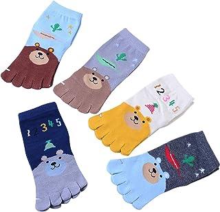 Qiraoxy, Calcetines Difusos Estilo Casual Media Pantorrilla Cinco Dedos Invierno Niños 3-6 Años Casual Hogar
