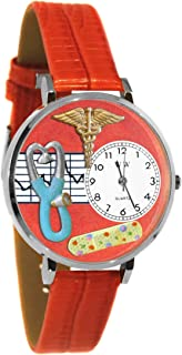 Whimsical Watches Nurse 2 Red in Silver Women's Quartz Watch with White Dial Analogue Display and Red Leather Strap U-0620053