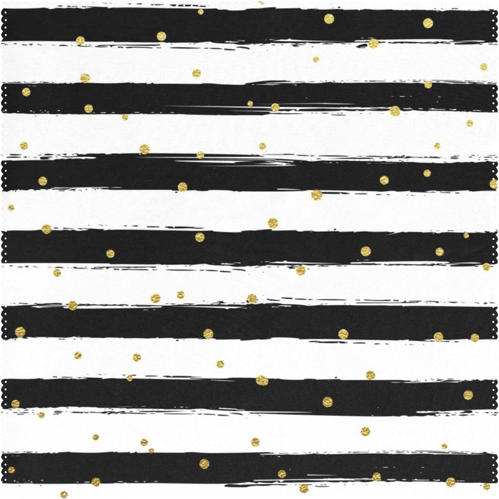 Mi Diario Negro y Blanco Rayas Oro Lunares Cuadrado manteles Individuales para Mesa de Comedor Juego de 4Lavable poliéster Resistente al Calor Cocina manteles Individuales