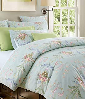 Warm Day Aqua Flower Printed Egyptian Cotton Quilt Cover Set-Garden Shabby and Chic Floral Duvet Cover Set French Country Quality Comforter Cover Rustic Garden Bedcover Bedding Set-King Size-15