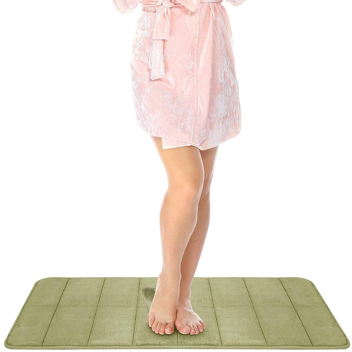 偉業とは異なり良心NEWYAK 吸水性抜群 快適 ソフト 足ふきマット,浴槽 浴室 玄関 速乾 厚手 マシン-洗える-グリーン 160x60