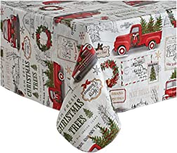 Winter Wonderland Vinyl Tablecloth Flannel Backed, Christmas Holiday Red Pickup Truck Design (60 x 102)