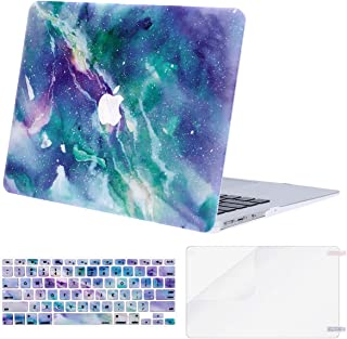 MOSISO MacBook Air 13 inch Case (A1369 & A1466, Older Version 2010-2017 Release), Plastic Pattern Hard Case&Keyboard Cover&Screen Protector Only Compatible with MacBook Air 13, Galaxy Marble
