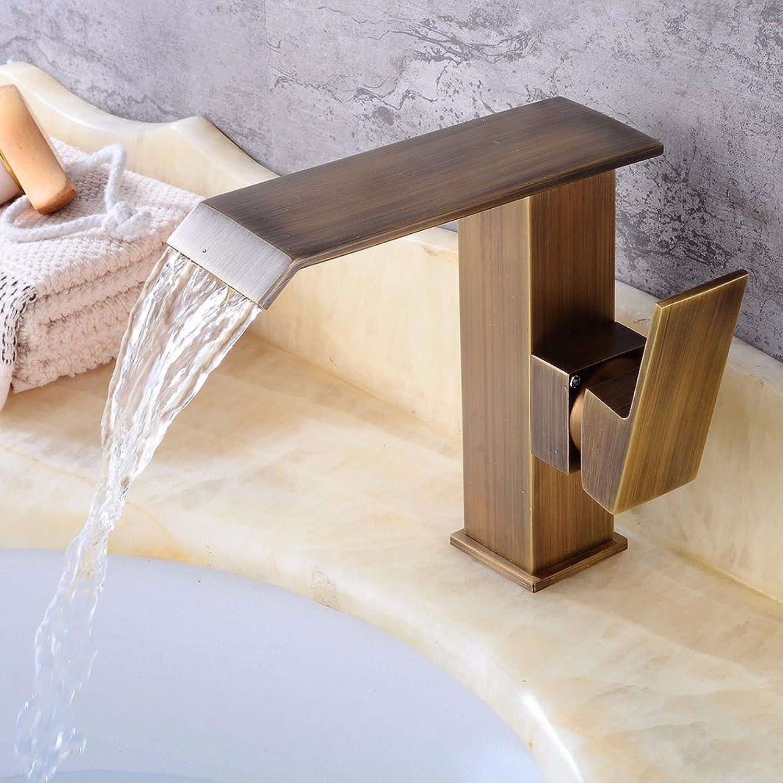 Bijjaladeva Wasserhahn Bad Wasserfall Mischbatterie Waschbecken WaschtischPlatz fllt Wasser Kalt Wasser Keramik Ventil Einloch Single Bad Waschtisch Armatur mit Griff
