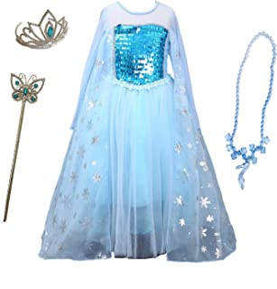 Snow Queen Princess Frozen Dress Elsa Costumes for Children's Day Birthday Party Cosplay for 3-12Y Girls