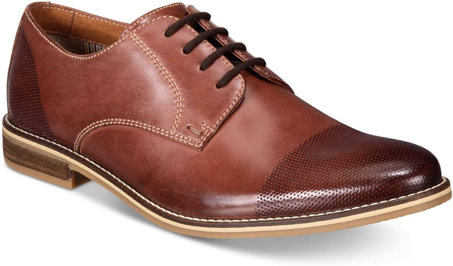 Alfani Mens Chadwick Leather Lace Up Casual Oxfords, Tan, Size 8.0