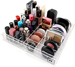 Zendi Collective Customizable Makeup Drawer Organizer. Comes with Tray and Dividers. 10 x 11.26 Width x 1.69 inches.Please Measure. 9x8 Rows, Up to 72 Spaces, Fits Oversized Lipsticks, Compacts etc