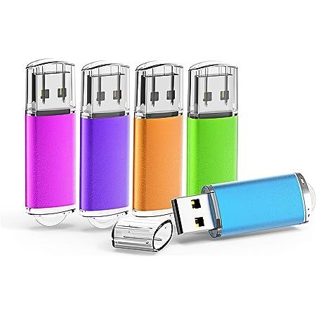 KOOTION USBメモリ32GB 5個セットUSB2.0 二年間保証 マイクロUSB フラッシュメモリー キャップ式 ストラップホール付き フラッシュドライブ(五色:青、紫、緑、赤、オレンジ)