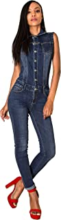Art. S336 Damen Ärmelloser Jeansoverall Jumpsuit Skinny Fit Denim-Overall