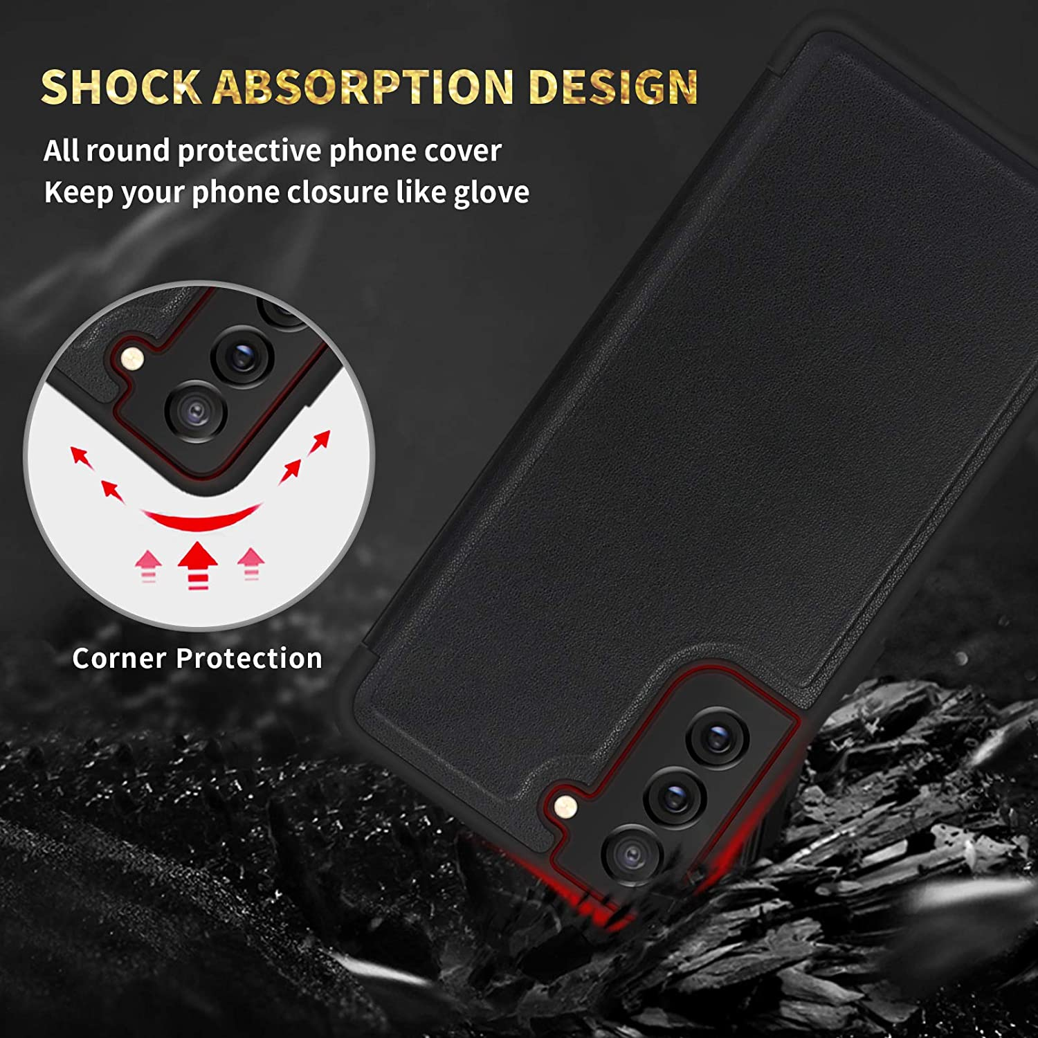 """FYY Case for Samsung Galaxy S21 Plus 5G 6.7"""", Magnetic Slim Flip Phone Case Drop Protection Shockproof Protective Cover with Window View Function for Samsung Galaxy S21+ Plus 6.7 inch Black"""
