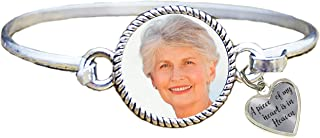 Portrait Photo A Piece of My Heart is in Heaven Bangle Bracelet Heart Charm Upload Your Photo