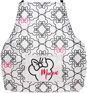 Disney Minnie Mouse Apron - Stylish Kitchen Accessories Designed in White, Pink and Black with Minnie Icons-Durable yet Lightweight Chef Apron to Protect Your Clothes - Add Disney Decor to any Kitchen