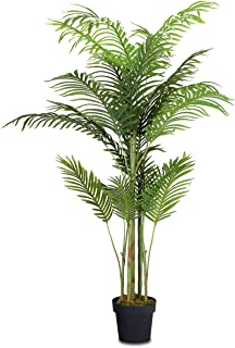 COSTWAY Palmera Artificial Altura 150cm Planta Árbol Artificial para Oficina Hogar Decoración Interior