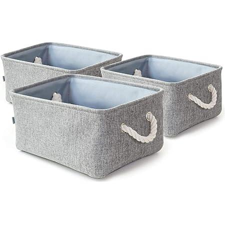Dricar Panier Rangement, Lot de 3 Boîte de Rangement Pliable en Tissu avec Poignées en Corde Idéal pour Etagères Armoires Salle de Bain Cuisine Chambre d'enfant 40*30*21cm(Gris)