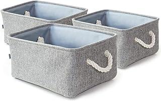 Dricar Panier Rangement, Lot de 3 Boîte de Rangement Pliable en Tissu avec Poignées en Corde Idéal pour Etagères Armoires ...