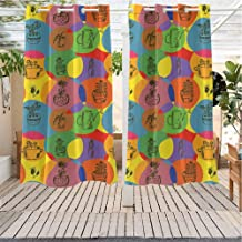 Xlcsomf Cactus Drape for Pergola Curtain Colorful House Plant Florist Theme Abstract Circular Patterned Background Thorns Gazebo W72 x L72 inch Multicolor
