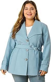 Agnes Orinda Women's Plus Size Blazer Single Breasted Side Belted Decor Work Blazers