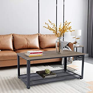 HOMY CASA End Table Industrial Wood Coffee Cocktail Sofa Side Desk with Storage Shelf with Metal Frame Bottom Iron Net for Living Room