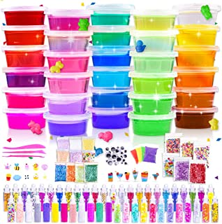 Slime Kit, 135 Pack Slime Making Kit 30 Crystal Slime, Glitter Jars, Charms, Sugar Paper, Foam Beads, Fishbowl Beads, Toy Cups, Slices, Air Dry Clay and Tools for Kids Girls by WINLIP