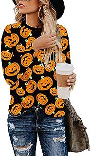 Choha Women's Christmas Top Casual Long Sleeve Halloween Pumpkin T Shirt