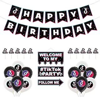 Tik Tok Birthday Party Decoration, Happy Birthday Banner Set, Tik Tok Balloon, Tik Tok Party Hanging Sign and Tik Tok Cake...