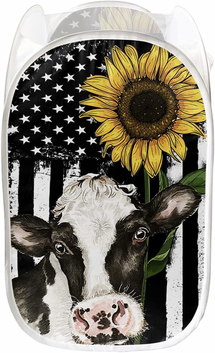Forchrinse Black Outlet SALE White American Flag Po Print Ranking TOP19 Sunflower Cow Mesh