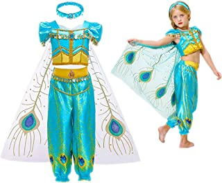 Girl's 3pcs Clothing Set - Princess Jasmine Aladdin Costume Birthday Party Dress Up (with Gift Headband)
