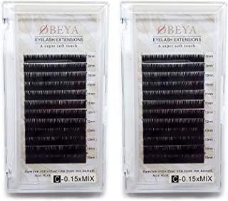 2 Trays C Curl Eyelash Extensions .15 Thickness 8-15mm Mixed Tray Individual Natural Faux Mink Eye Lashes Soft Lash Extensions Salon Perfect Use by OBEYA