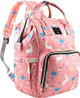 Vakabva Diaper Bag Backpack Insulated Waterproof Travel Nappy Bags Large Capacity Tote Shoulder Nappy Bag for Mommy Backpack with Multi-Function, Durable & Stylish(Pink Unicorn)