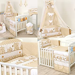 11 Piezas juego de ropa de cama para cuna de bebé cama edredón dosel soporte 120 x 60 cm 9 Osos Marrones