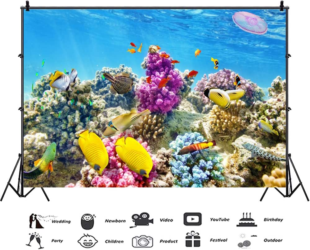 Leowefowa 5x3ft Vinyl Photography Backdrop Colorful Aquarium Underwater Background Fishes Corals Background for Party Baby Kids Children Photo Shoot Birthday Backdrop Video Studio Props